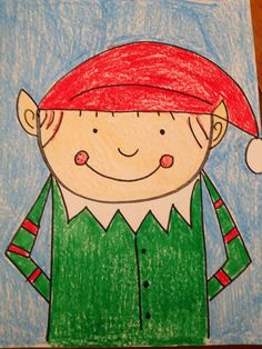 "Learning With Mrs. Parker: An ""Elf""tastic Freebie How to draw an elf Christmas Art Projects, Winter Art Projects, School Art Projects, School Ideas, Preschool Christmas, Christmas Elf, Xmas, Christmas Ideas, Christmas Crafts"
