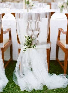 Tulle covered chair: http://www.stylemepretty.com/2014/08/04/intimate-destination-wedding-in-tuscany/ | Photography: Marisa Holmes - http://www.marisaholmesblog.com/