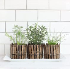 These stained-clothespin planters are a super-cute way to display your herb collection—although they're best-suited for plants that work well in teensy containers, like rosemary or chives. Find the (Spanish) instructions at Stebbing House Design—Google translation here. RELATED: 46 Ways to Make Something New Out of Something Old