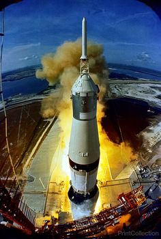 16 July 1969 - The huge, 363-feet tall Apollo 11 (Spacecraft 107/Lunar Module 5/Saturn 506) space vehicle is launched from Pad A, Launch Complex 39, Kennedy Space Center (KSC), at 9:32 a.m. (EDT), Jul