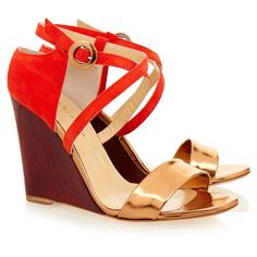 Eugenia Kim Bruna Copper and Red Suede Mahogany Wood Wedge Sandal ($300) ❤ liked on Polyvore featuring shoes, sandals, wedges, heels, red, wedge heel sandals, wood sandals, wooden sandals, red heeled sandals and red wedge shoes