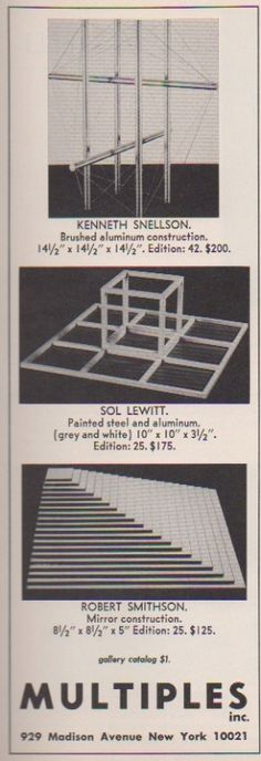 KENNETH SNELLSON, SOL LEWITT, ROBERT SMITHSON Multiples