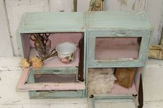 Distressed seafoam and muted pink display case by AnitaSperoDesign, $160.00