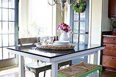 ikea hack norden table turned farmhouse table, painted furniture, ikea table turned farmhouse table