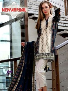 227f91c6189c Pareesa by Chen one  LawnCollection stitched 2 Piece Suit in navy Blue   amp  Cream