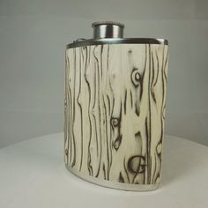 """Gentlecask """"Greenland"""". For 129,90€ at www.gentlecask.com or etsy """"GentlecaskShop"""".  Our handcrafted Hipflask stands for coldness but also for the beauty of Greenland - More than 80% of Greenland is covered with ice, giant glaciers formed the typical valleys. This hipflask is for explorers and mountaineers.  All Gentlecasks are made in England and finished in Germany. We love our products and work with passion"""