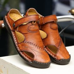 Menico Menico Men Hand Stitching Soft Outdoor Closed Toe Leather Sandals is comfortable to wear, cheap men sandals are on sale-NewChic Mobile. Mens Fashion Casual Shoes, Fashion Shoes, Men's Fashion, Stitch 626, Shoe Boots, Shoes Sandals, Dress Shoes, Men With Street Style, Herren Outfit