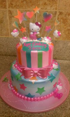 hellokitty colorful hearts and stars cake