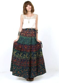 70s INDIAN Ethnic Tribal Print Cotton WRAP Maxi SKIRT Small