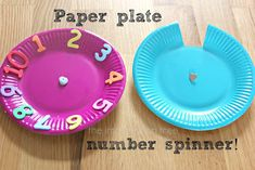 The Imagination Tree: Paper Plate Number Spinner! Counting Activities For Preschoolers, Science Experiments For Preschoolers, Math Games For Kids, Kindergarten Activities, Fun Math, Preschool Math, Number Spinner, Maths Paper, Imagination Tree