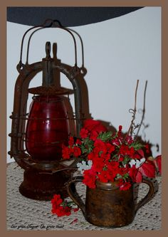 an old lamp, an old vessel, and beautiful red Old Lanterns, Old Lamps, Decoration, Simple, Green, Beautiful, Ideas, Home Decor, Decor