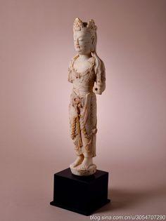 石雕鎏金彩繪菩薩立像  H 47.5 cm