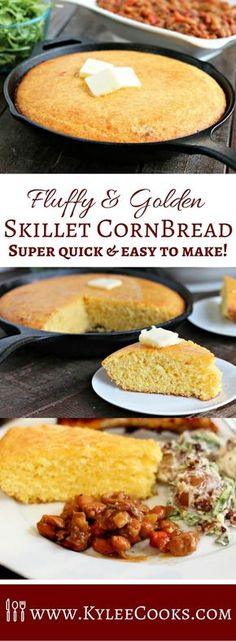 Fluffy and Golden this Skillet Cornbread is a cinch to make and is fantastic side for any meal! via Fluffy Golden Skillet Cornbread Cast Iron Skillet Cornbread, Iron Skillet Recipes, Skillet Cooking, Cast Iron Recipes, Cast Iron Cooking, Corn Bread Cast Iron, Cast Iron Skillet Meals, Skillet Bread, Cooking Steak