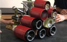 Reuse old soup cans and make a fun and funky wine rack!