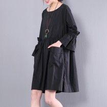 New black solid cotton dresses women shift dress plus size clothes