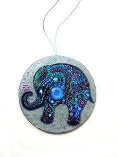 Elephant Decor hand painted CD elephant ornament by LaAmapolaRoja