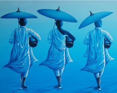 Three Monks Light Blue Oil Painting (Indonesia) landscape painting oil on canvas Buddha Kunst, Buddha Art, Budha Painting, Indian Folk Art, Cheap Paintings, Pictures To Paint, Graphic Design Art, Art Google, Sculpture Art