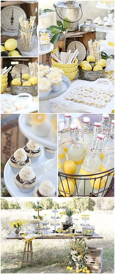 Lemon Dessert Table -I love the yellow  Have a happiness  party