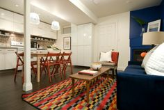 Colorful Living Room / Kitchen, Michael and Karen - Season 8 Income Property, Investment Property, Colourful Living Room, Season 8, Living Room Kitchen, Hgtv, Small Spaces, Basements, Bed