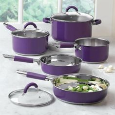Amazon.com: BrylaneHome 8-Pc. Purple Cookware Set: Kitchen & Dining