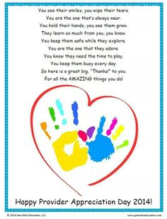 Thanks to all Day care Providers!