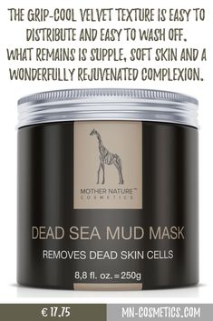 The grip-cool velvet texture is easy to distribute and easy to wash off. What remains is supple, soft skin and a wonderfully rejuvenated complexion Skin So Soft, Natural Skin, Anti Aging, Totes Meer, Dead Sea Mud, Glowing Skin, Beauty Blogs, How To Remove, Velvet