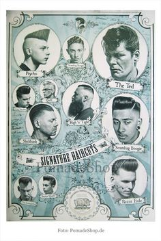 """Poster """"The Signature Haircuts"""" (BLUE) - folded - Pomade Shop"""