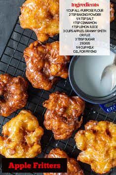 Apple Fritters are rustic-style donuts that are packed with fresh apple chunks and spicy cinnamon. The dough is a bit denser than a traditional donut, which makes it even more perfect for dipping in coffee or tea. Donut Recipes, Apple Recipes, Dessert Recipes, Dessert Bread, Pastry Recipes, Keto Desserts, Yummy Recipes, Breakfast Recipes, Baked Apple Fritters