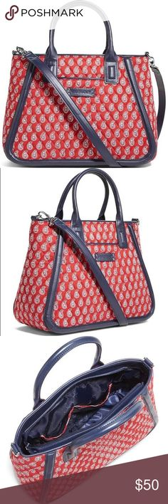 """Vera Bradley Trimmed Trapeze Satchel - Red Paisley Size: 12 3/4"""" W x 10"""" H x 5"""" D with a 5"""" drop handle and 34"""" removable strap.   NWT Vera Bradley Bags Satchels"""