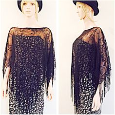 Vintage black lace fringe poncho scarf shawl goth sheer boho / ($32) ❤ liked on Polyvore featuring accessories, scarves, black sheer shawl, lace scarves, vintage lace scarves, fringed shawls and sheer scarves