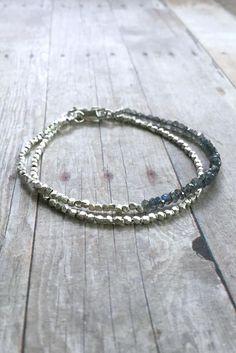 Labradorite Bracelet, Tiny Silver Beaded Bracelet, Fine Sterling Silver Jewelry