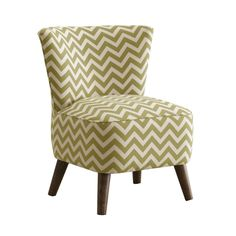 A striking apple green and ivory chevron pattern and slightly splayed cone legs make this chair a statement piece in any room. Completely handmade in the USA, the chair has a wide seat and ample backre...  Find the Verve Chair in Moss, as seen in the Accent Chairs Collection at http://dotandbo.com/category/furniture/chairs/accent-chairs?utm_source=pinterest&utm_medium=organic&db_sku=SKY0012