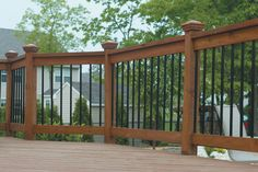 Deck railing isn't simply a safety and security feature. It can add a stunning aesthetic to mount a decked location or porch. These 36 deck railing ideas show you just how it's done! Composite Deck Railing, Metal Deck Railing, Front Porch Railings, Deck Railing Design, Patio Railing, Patio Deck Designs, Railing Ideas, Banisters, Metal Balusters