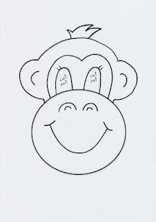 Monkey mask template - to play Five Little Monkeys jumping on the bed