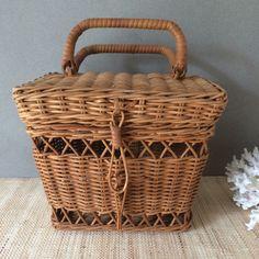 Vintage wicker basket with handles   wicker recipe box   vitamin storage…