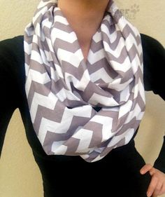Gray Chevron Infinity Scarf for Adults - Grey Cotton Chevron Scarf - Riley Blake Loop Scarf