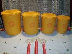 """Vintage Tupperware  """"Servelier"""" Canister Set """"Creamsicle Color"""""""