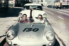 "maudelynn: One this day in History; the last ride of James Dean Sept 30 1955 Top Photo; ""James Dean and his mechanic, Rolf Weutherich, posing inside the iconic 1955 Porsche 550 Spyder, nicknamed ""The Little Bastard,"" shortly before the start of Dean's last ride. Bottom Photo; James Dean alone in the car The Hollywood Ranch Market on Vine Street in the upper right hand corner is where he and his entourage had coffee and donuts before filling up the car with gas at a service station on Vent..."
