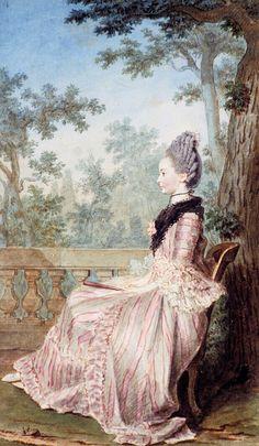 Portrait de Mlle Fabre, plus tard baronne de la Houze, vers 1760-70 Louis Carrogis dit Carmontelle