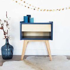 SALES - Mid century Bedside table, nightstand, Scandinavian and vintage, pedestal table, mid century modern, wood, blue color, model Basile