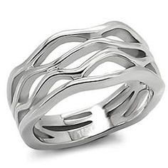Stainless Steel Wave Band at townsqjewelry.com