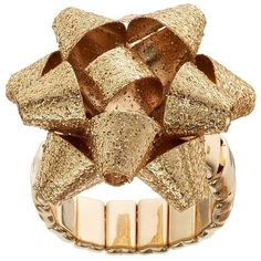 Holiday Bow Glitter Stretch Ring ($9.80) ❤ liked on Polyvore featuring jewelry, rings, gold, yellow gold jewelry, glitter ring, gold jewellery, gold cocktail rings and stretch cocktail rings