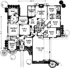 Style House Plans - 2818 Square Foot Home , 1 Story, 4 Bedroom and 3 Bath, 3 Garage Stalls by Monster House Plans - Plan 8-756
