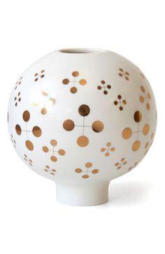 Jonathan Adler vase with gold detailing