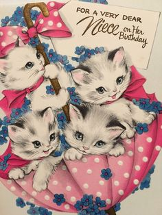 Other Collectible Vintage Greeting Cards Vintage Birthday Cards, Vintage Greeting Cards, Cat Birthday, Birthday Quotes, Happy Birthday Pictures, Vintage Pictures, Vintage Images, Pink Cards, Family Birthdays