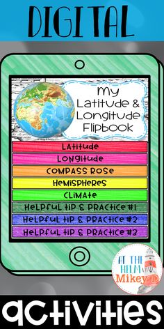 Latitude and Longitude Digital Flip Book Activity. This resource is perfect for students learning about latitude and longitude in the intermediate grades! Interactive, fun, and saves right into their Google Drive! Use this resource on many educational apps and websites!