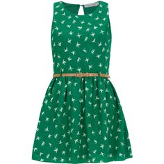 Sugar Reef Green belted bird dress (280 VEF) ❤ liked on Polyvore featuring dresses, vestidos, robes, short dresses, green, bird dress, mini dress, short green dress, green cocktail dress and short green cocktail dress