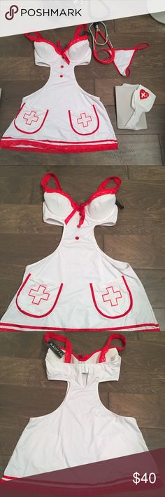Sexy Nurse Costume ⚡️NEW w TAGS SZ S 4 piece set Sexy Nurse Costume ⚡️NEW w TAGS SZ S 4 piece set white and red costume with padding in the cups and 2 prong clasp in the back slutty nurse naughty nurse Halloween costume costume party cosplay side cutouts push up bra 90% polyester 10% spandex play stethoscope thigh highs still in original packaging lingerie women's costumes Rampage Intimates & Sleepwear Bras