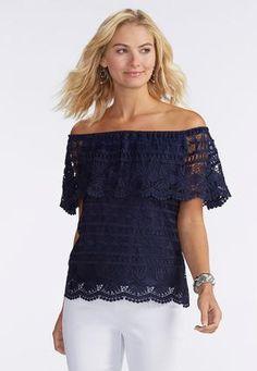 Cato Fashions Off The Shoulder Crochet Top #CatoFashions
