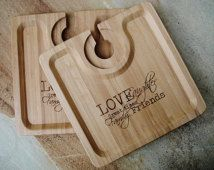 2 Personalized Bamboo Party Trays, Custom Engraved Wine and Hors d'oeuvres Trays - set of four